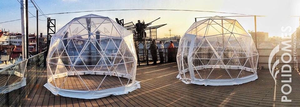 rooftop bar igloo tents