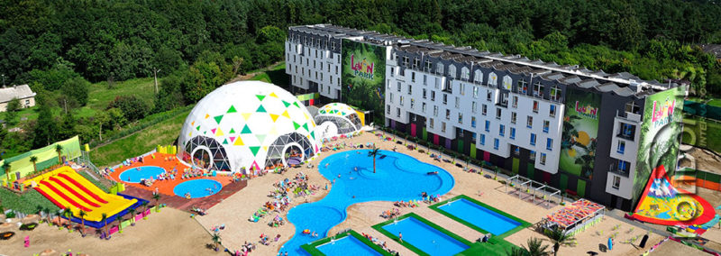 aqua park and a catering geodesic tent