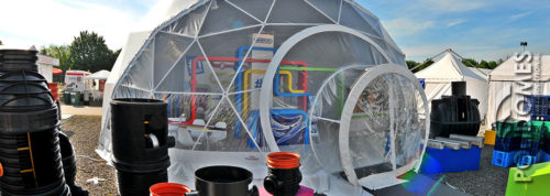 wavin geodesic dome tent at the fair